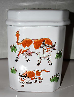 "Taste Seller Sigma Ceramic Cow Bull Farm Field Picket Fence Canister 7.75""tall"