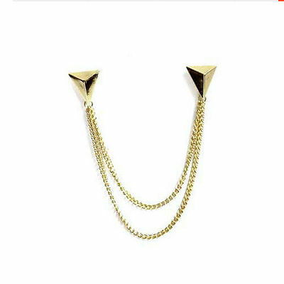 Cardigan Clips Style Fashionable Sweater Gold Tones Triangle Shirt Collar