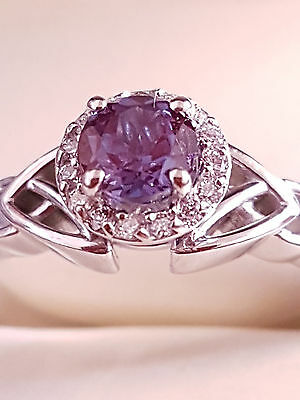 Engagement Alexandrite Ring in 14K White Gold size 9