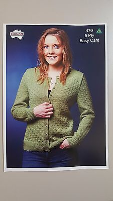 Heirloom Knitting Pattern #476 To Knit Ladies Cardigan in 5 Ply Easy Care Yarn