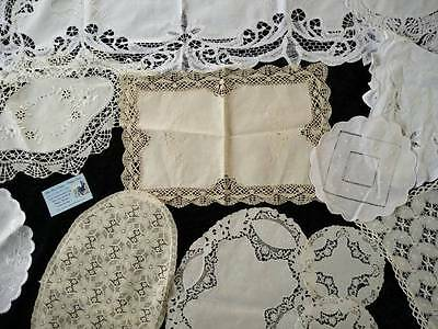 Bulk lot 12 Vintage mixed lace pieces - Usable or Crafts & extras