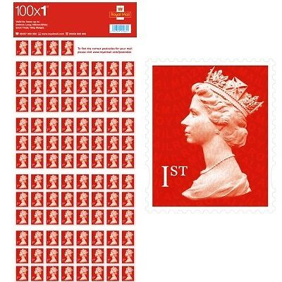 100 First 1st Class Stamps Red New Unused