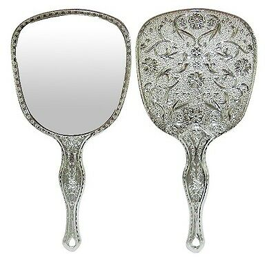 777 Oriental Flower Repousse Vintage Style Hand Mirror Portable Silver Mirrors