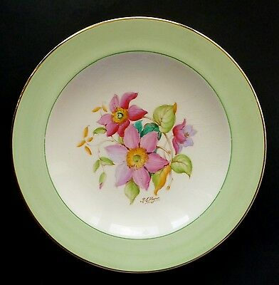 "VINTAGE CROWN DUCAL ""Clematis"" signed HAND PAINTED display cake plate"