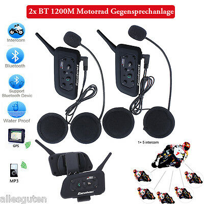 2x 1200 mt motorrad helm bluetooth intercom headset. Black Bedroom Furniture Sets. Home Design Ideas