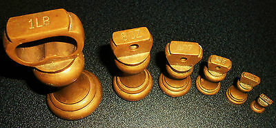 Vintage Set Of 6 Solid Brass Weights
