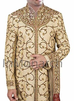 Traditional Red Embroidered Golden Wedding Sherwani Formal Occasion 206