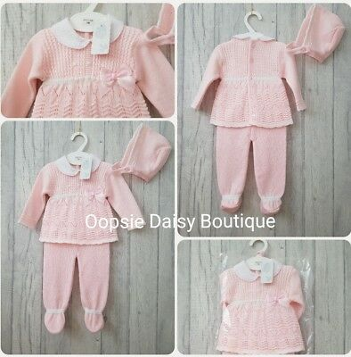 Baby Girls Gorgeous Pink Spanish Knitted 3 Piece Suit with Bonnet ☆