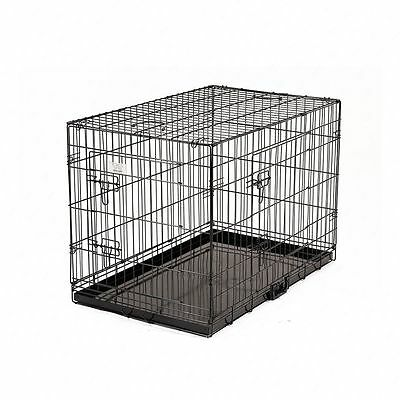 """Folding Dog Cage Puppy Crate Black Metal Training Pet Carrier Playpen 24"""""""