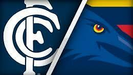 Afl Carlton Vs Adelaide Crows X 2 Tickets ***below Cost*** Level 2 Centre Wing