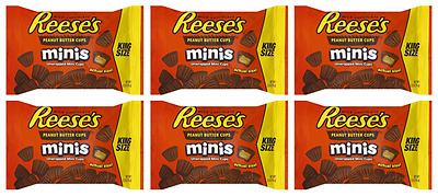 900691 6 x 70g BAGS OF REESE'S MINIS MILK PEANUT BUTTER CUPS KING SIZE