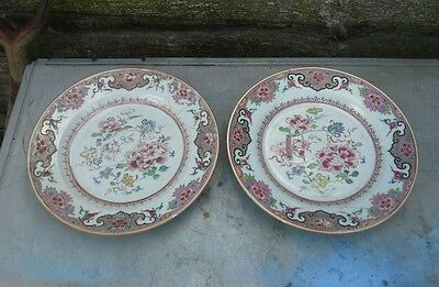 Fine Pair Of  Antique Chinese 18Th Century Porcelain Plates Af
