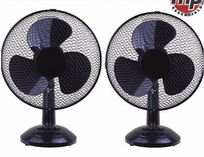 """2 x Daewoo Black 12"""" 3 Speed Electric Oscillating Desk Table Air Cooling Fan Set"""