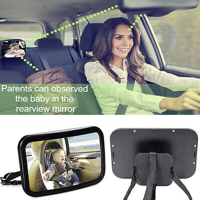 Large Adjustable Wide Rear View Baby Child Car Safety Seat Mirror Headrest Mount