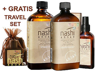 Nashi Argan SET Shampoo 500ml & Conditioner 500ml & Oil 100ml with pumps. NEW.