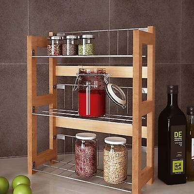 Free Standing Bamboo Wall Mounted Spice Jar Rack 3 Tier Storage Shelves Holder