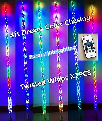 Pair 4FT 300LEDs Glow Spiral Wrapped Twisted Dream Chasing Whips Lights (Remote)