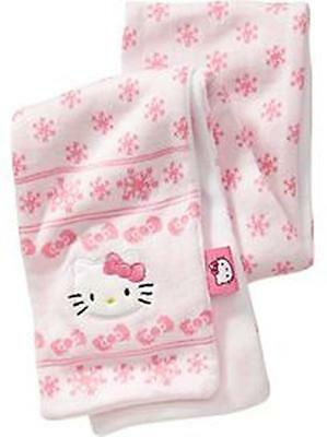Girls Hello Kitty Old Navy Pink With Snowflakes Winter Scarf Knit Fleece New