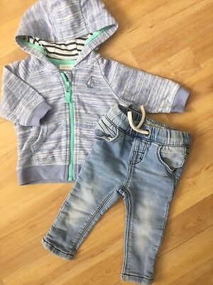 Next Baby Boys Outfit Age 3-6 Months Soft Jersey Jeans, Boat Hoodie, Light Blue