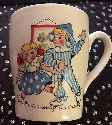 Vintage Kitsch Andy Pandy and Looby Lou Dancing cup Keele potteries 1950's