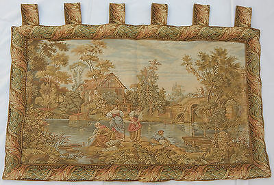 Vintage French Stream Scene Tapestry Wall Hanging 53x86cm T108