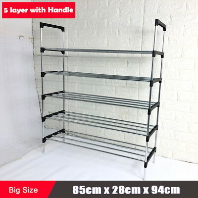 85cm Width 5 Tier 25 Pairs Steel Blue Shoe Racks Storage Organizer Stand Holder