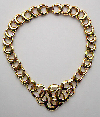 Givenchy style vintage 1980s gold tone link necklace chunky central panel 46cm