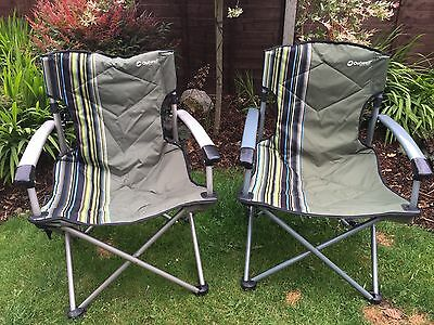 2 X Outwell Fountain Hills Folding Camping Picnic Beach Chair Green Solid Arms
