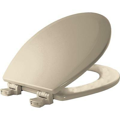 Beige Round Toilet Seat Lid Cover Closed Front Lift Off Hinge Bumpers Bathroom