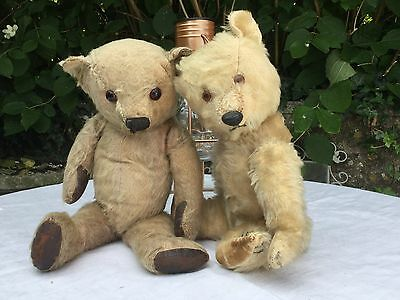 2 Vintage British Teddy Bears-Chiltern Dog Nose & Once Pink Chad Type Bear-Tlc