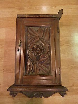 Antique carved wooden pipe smoker cabinet - Black Forest Region
