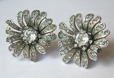 Beautiful vintage Dior style plated paste set floral clip earrings circa 1950s