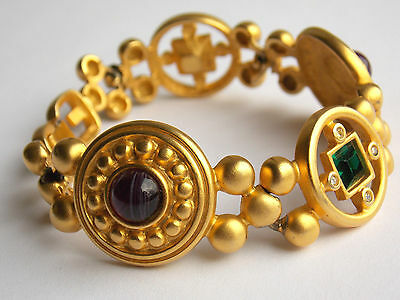 Vintage Givenchy bracelet signed goldtone etruscan style with poured glass 1980s