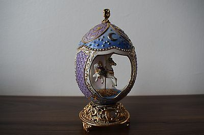 House of Faberge Musical Carousel Horse Egg Franklin Mint Moon & Stars