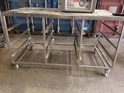 Commercial caterer stainless steel work bench with tray runners