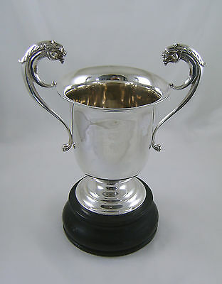 Silver Trophy Cup With Dragon Handles & Ebony Stand HM 1925 Robert Pringle