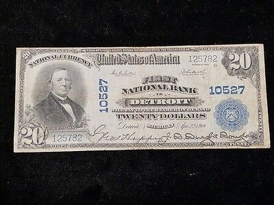 1914 First National Bank in Detroit Michigan $20 1902 Series Banknote # 10527