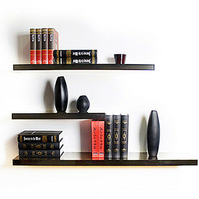 3 Pcs Gloss Floating Wall Mounted Display Shelf Bookshelf Display Storage Home