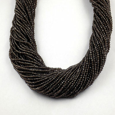 """5 Strand Smoky Quartz Rondelle 2.20mm Micro Faceted Gemstone Beads 13"""" Long"""