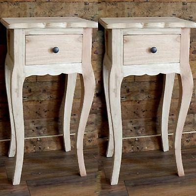 2 Unpainted Shabby Chic Bedside Cabinets French Style Lamp Table Bedroom