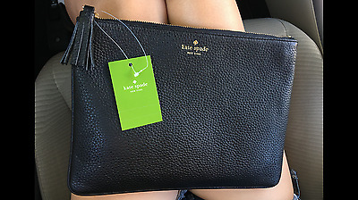 NWT Kate Spade Gia Chester Street Black Pebbled Leather Clutch/pouch bag $89