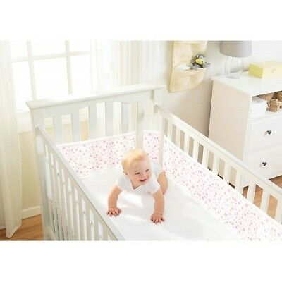 Breathable Baby Cot Mesh 4 Sided -White With Pink Stars - New