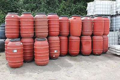 Used Great Quality Terracotta Coloured Plastic Barrel Water Butt 220 Litre