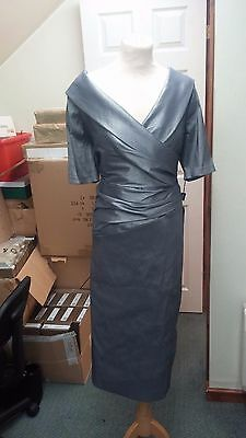Ispirato Condici Mother of the Bride Dress Silver Smoke Sleeve Size 18 BNWT £280