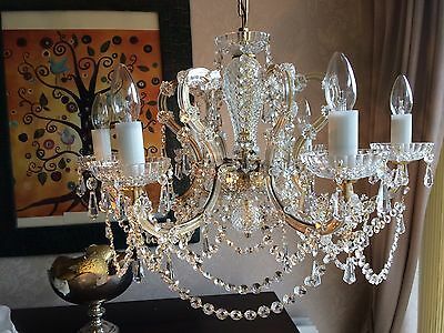 Vintage Chic French Crystal Chandelier 6 Arm 65cm Wide Beautiful Lead Crystal