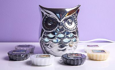 YANKEE CANDLE Ollie Owl Electric Melt Warmer + 12 Wax Tarts SILVER