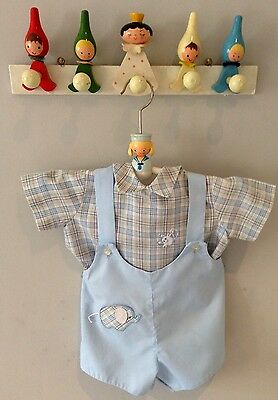 1960's Vintage Baby Boys Romper Shirt and Dungaree Set Age 0-3 Months