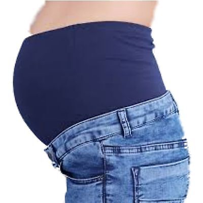 Branded Maternity Pregnancy Boyfriend Over The Bump Mid Denim Blue Jeans