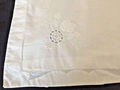Beautiful Pair of Vintage White Pillow Shams Embroidered Organdy Inserts
