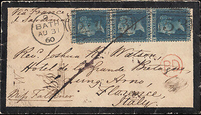 SG45 1859 2d. Plate 8. Thick Lines. Vertical strip 3 on mourning cover. 320425